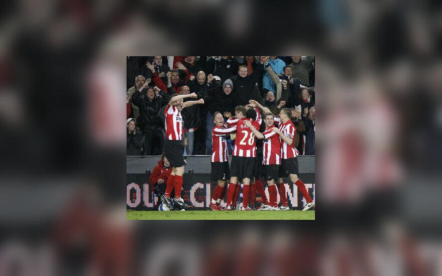 Eindhoveno PSV futbolininkai švenčia pergalę
