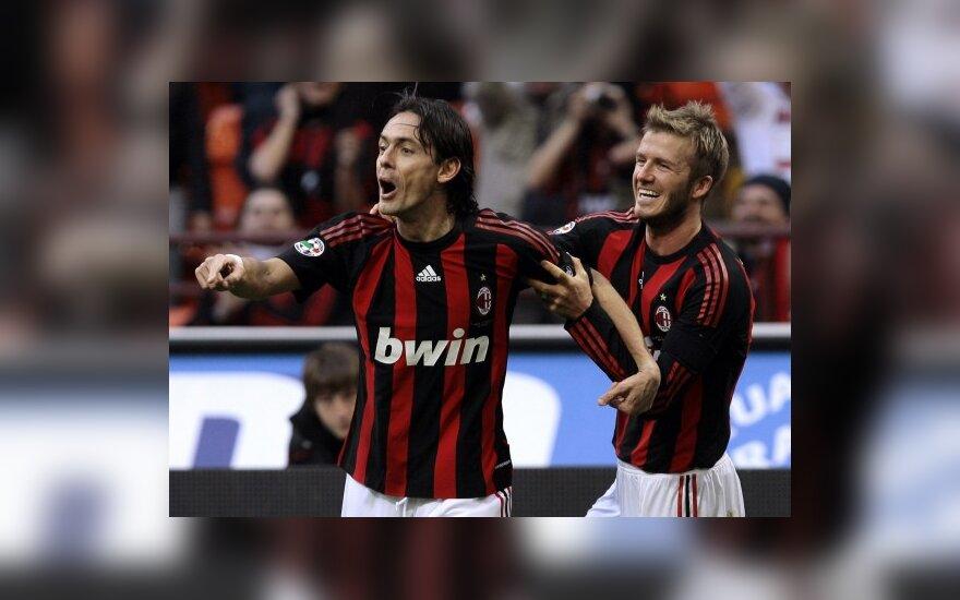 """Filippo Inzaghi ir Davidas Beckhamas (""""AC Milan"""") džiaugiasi įvarčiu"""
