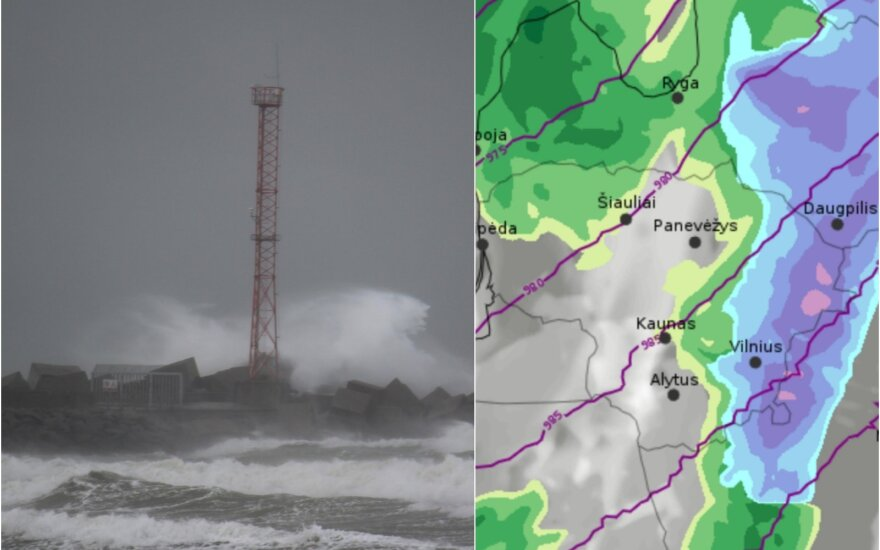 JK chaosą sukėlęs ciklonas pasiekė Lietuvą: slinks kelios kritulių juostos, galima perkūnija