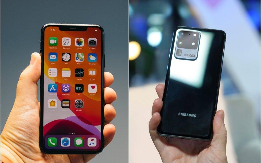 iPhone 11 Pro Max ir Samsung Galaxy S20 Ultra