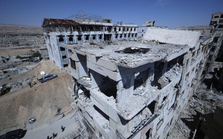Subombarduotas ligoninės pastatas Doumoje, Sirija