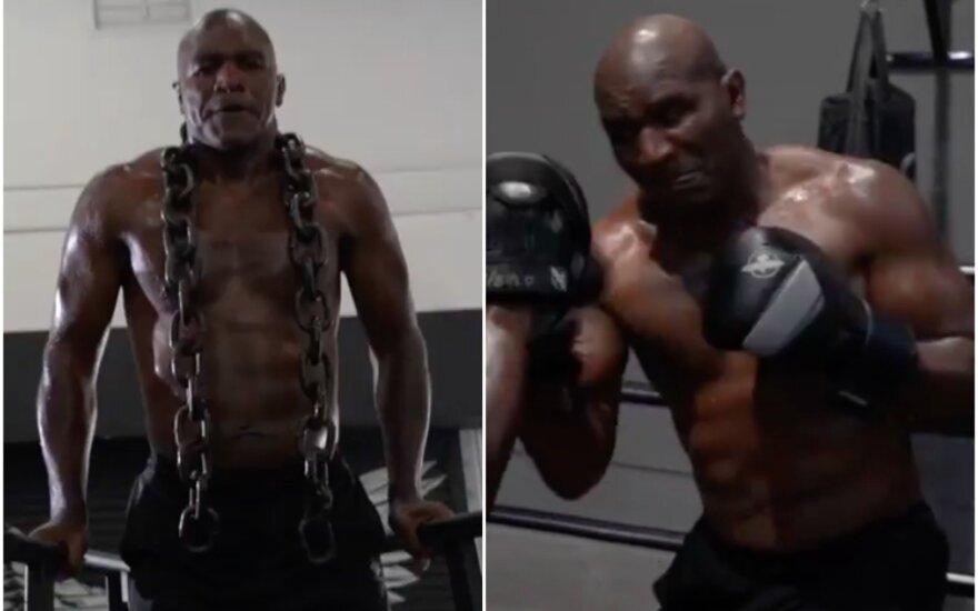 Į ringą besiveržiantis Holyfieldas nejuokauja: treniruojasi su pačiu Kličko