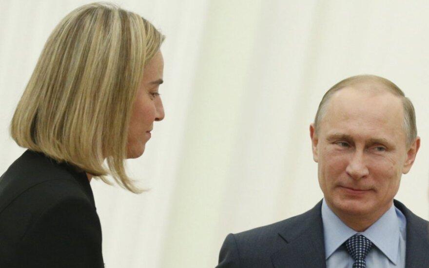 Federica Mogherini and Vladimir Putin