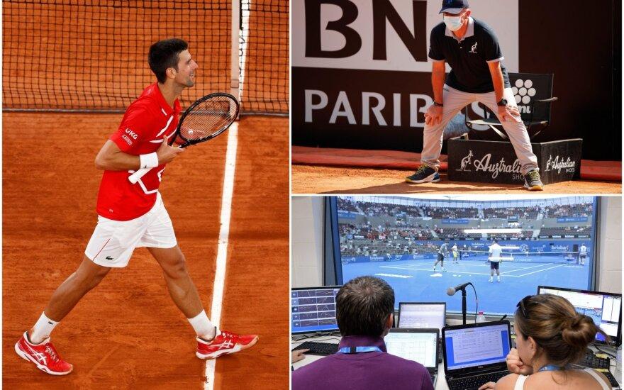 """Novakas Džokovičius norėtų, kad linijos teisėjus visiškai pakeistų """"Hawk Eye"""" technologija"""