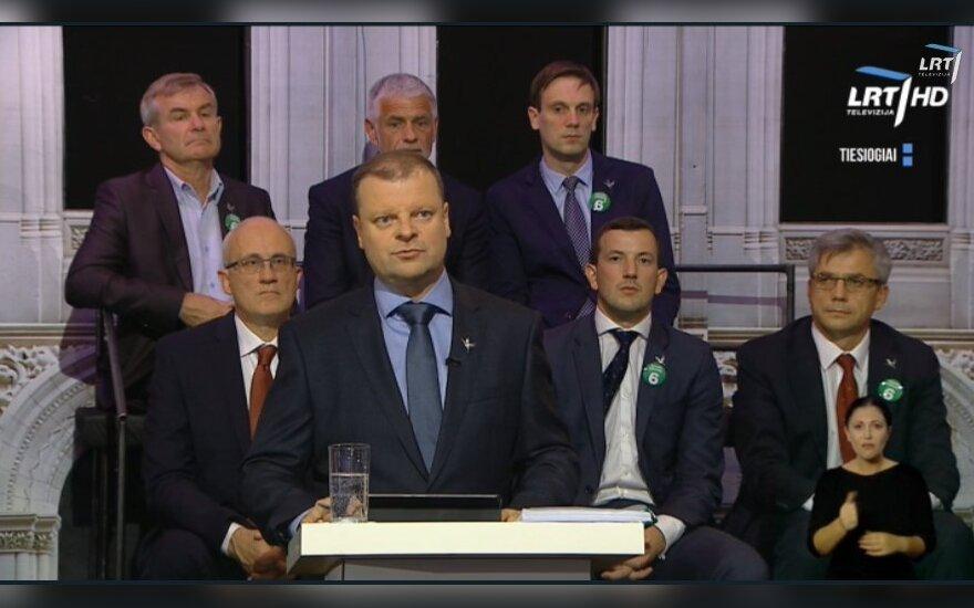 Saulius Skvernelis during the TV debates on economy