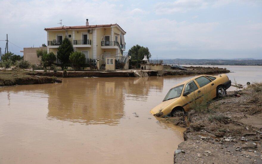 Graikijos Eubojos saloje per potvynius žuvo septyni žmonės