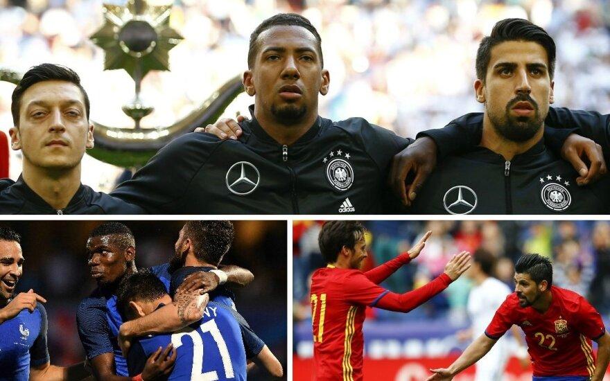 Vokietijos rinktinė, Prancūzijos rinktinė, Ispanijos rinktinė (AFP-Scanpix, REUTERS-Scanpix nuotr.)
