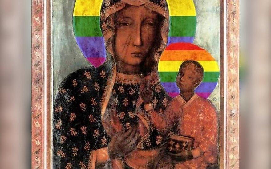Lenkijoje sulaikyta moteris, pakabinusi Mergelės Marijos plakatus vaivorykštės fone