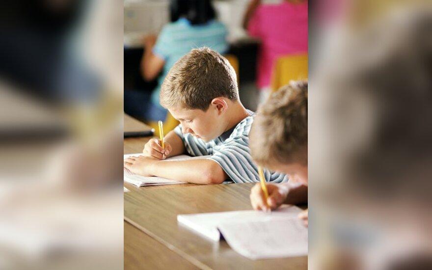 mokykla, mokiniai, mokytis, rašyti, vaikai