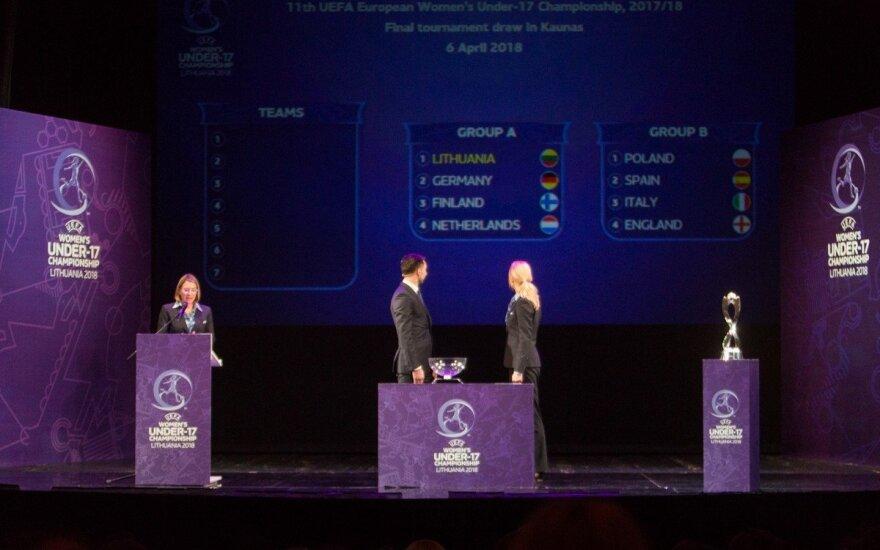 Europos merginų (U17) futbolo čempionato burtų traukimo ceremonija (LFF/E. Kniežausko nuotr.)