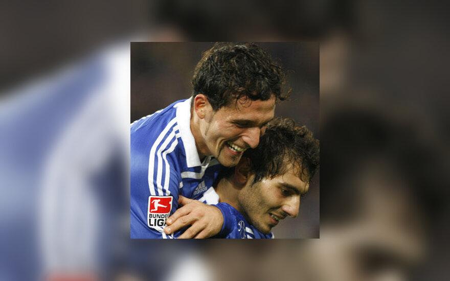 """Kevin Kuranyi (kairėje) ir Halil Altintop (Schalke 04"""") džiaugiasi įvarčiu"""