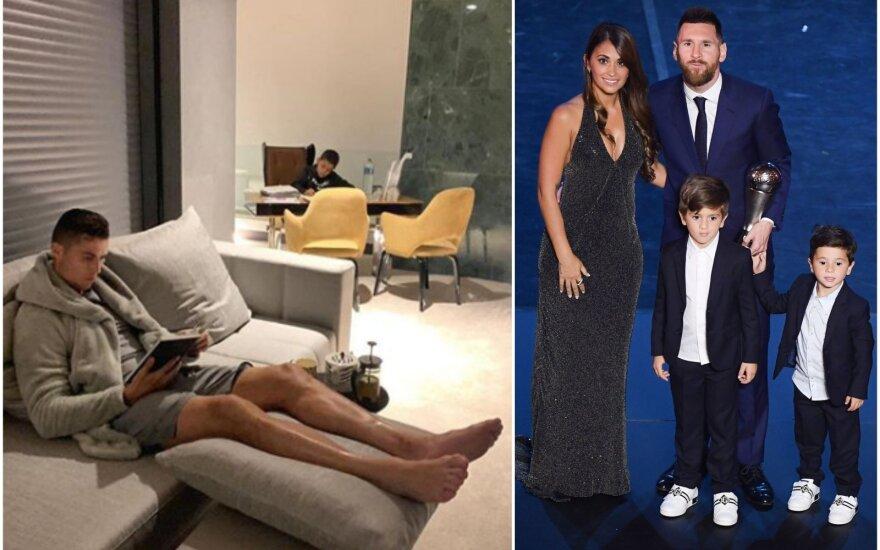 Cristiano Ronaldo (kairėje), Lionelis Messi su šeima