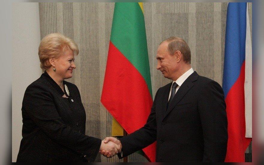 President Dalia Grybauskaitė of Lithuania and Vladimir Putin of Russia
