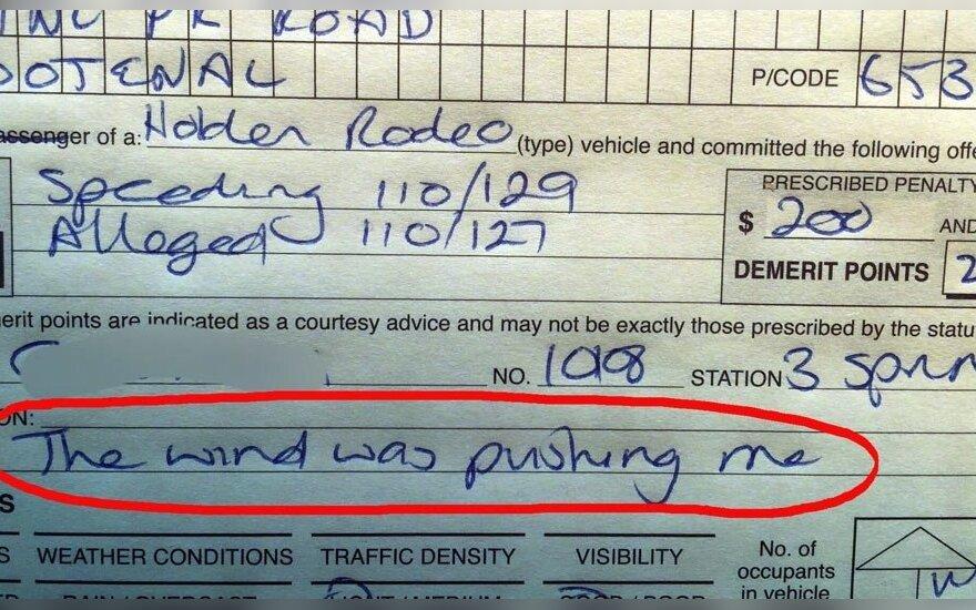 Originalus vairuotojo pasiteisinimas nusižengimo protokole
