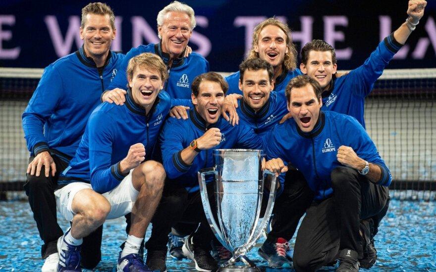 """""""Laver Cup"""" teniso turnyre europiečiai pranoko likusio pasaulio atstovus"""