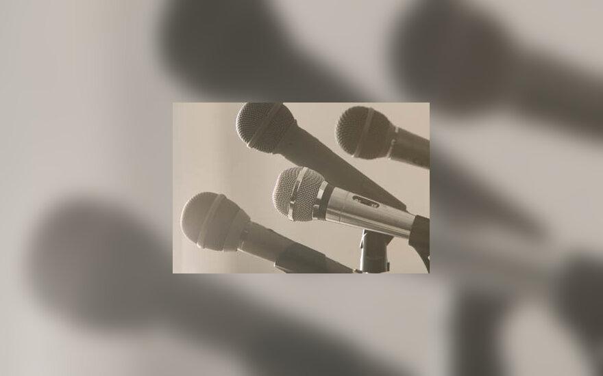 mikrofonai, konferencija, kalba