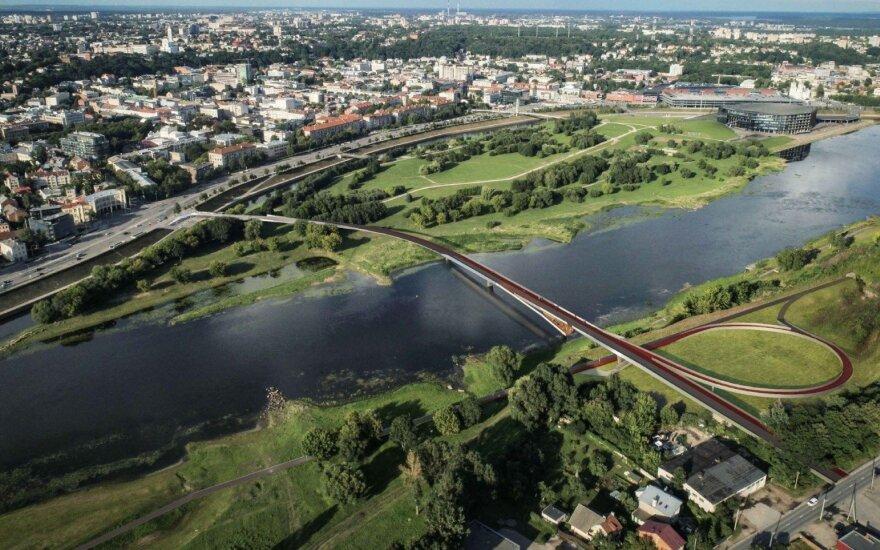 Pristatyti pėsčiųjų tiltų į Nemuno salą projektai