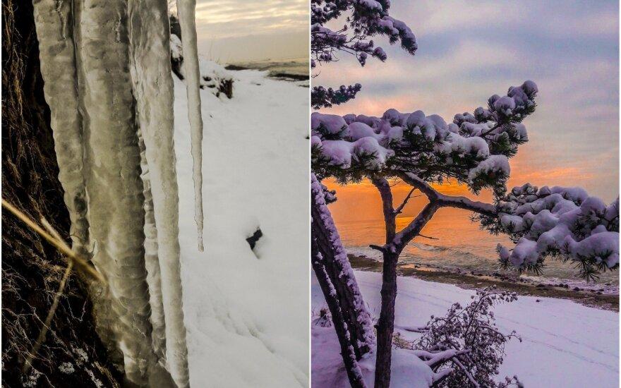 Žiema padirbėjo iš peties: pajūrį išpuošė įspūdingi varvekliai
