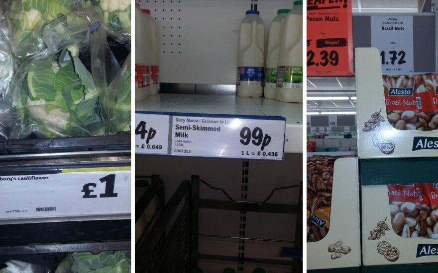 Kiek maisto produktai kainuoja Anglijoje: skaitytojo nuotraukos