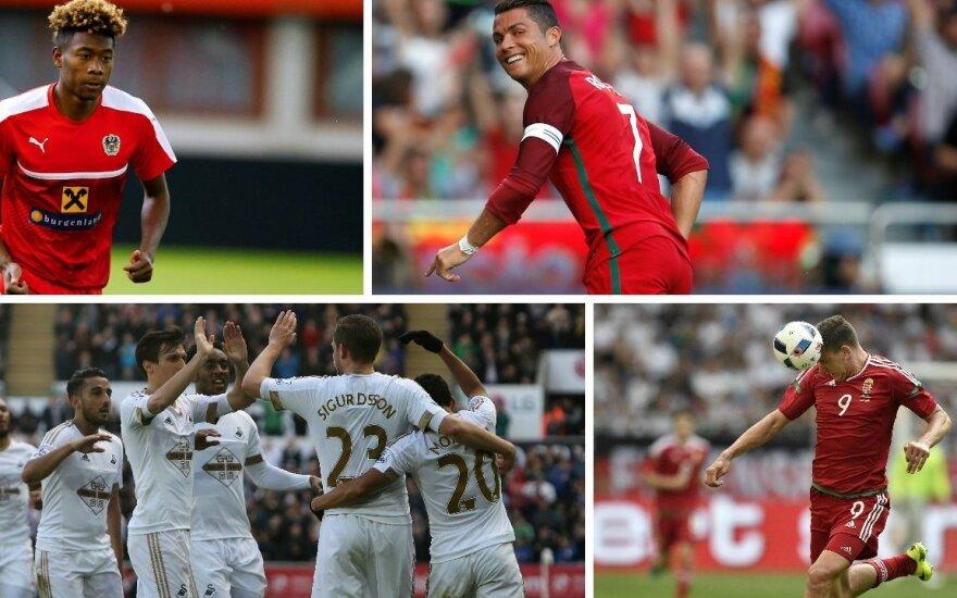 Davidas Alaba, Cristiano Ronaldo, Islandijos rinktinė ir Adamas Szalai (AFP/Scanpix, Reuters/Scanpix ir AP/Scanpix nuotr.)