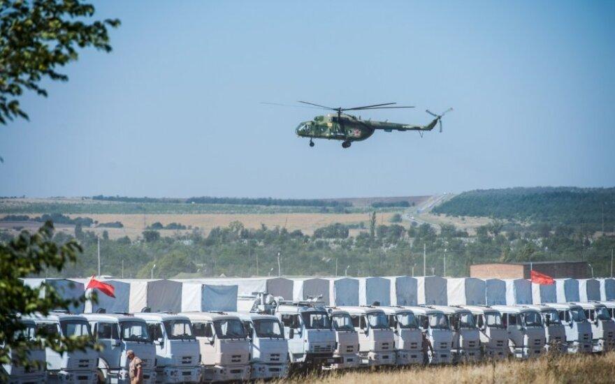 Rusijos į Ukrainą pasiųsti vilkikai Rostove prie Dono