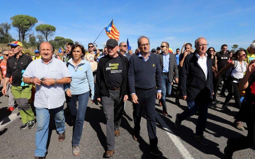 Katalonų lyderis prisijungė prie separatistų eisenos