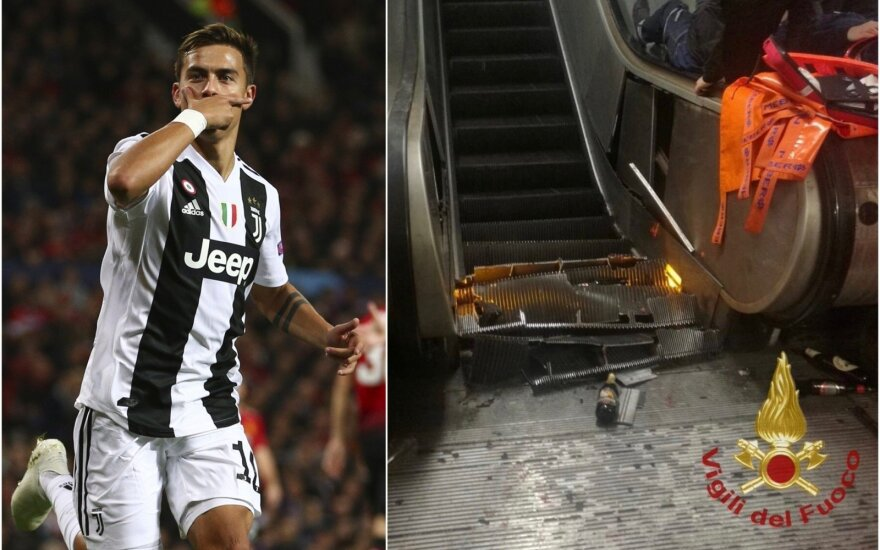 Paulo Dybala, lūžęs metro eskalatorius Romoje / Foto: AP-Scanpix, Sputnik-Scanpix