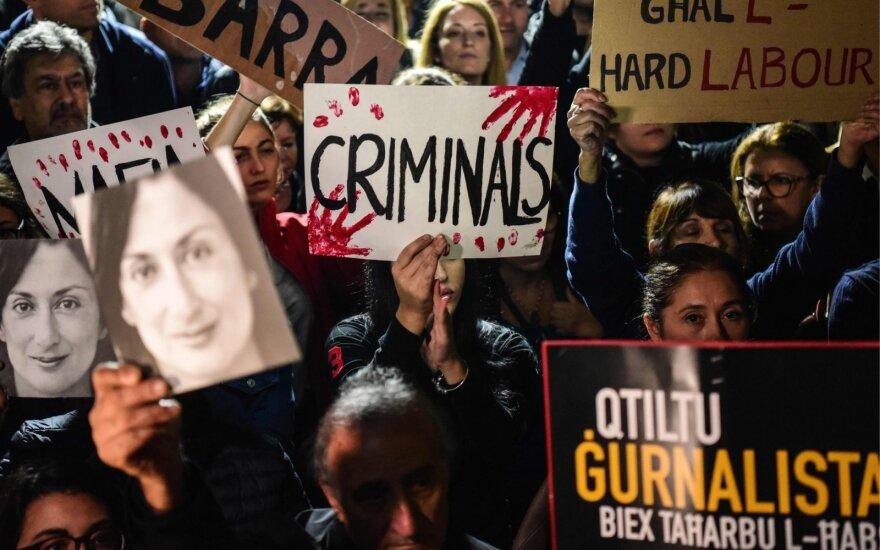 Protestas dėl žurnalistės nužudymo bylos Maltoje