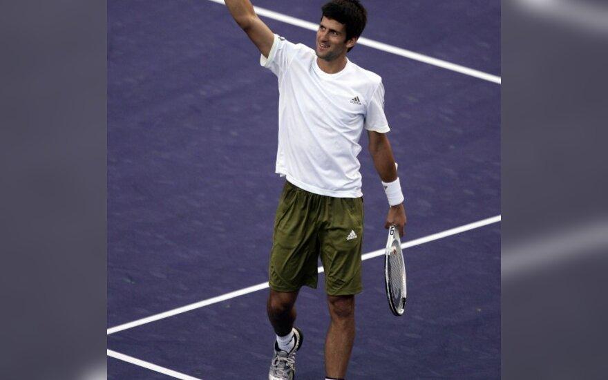 Teniso turnyro Kalifornijoje ketvirtfinalyje - N.Djokovičiaus ir A.Roddicko akistata