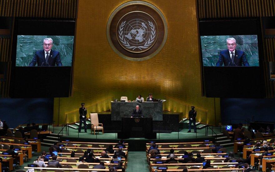 Pirmoji Nausėdos kalba Jungtinėse Tautose: iki šios dienos Rusija nepadarė nieko, kad nusipelnytų mūsų pasitikėjimą