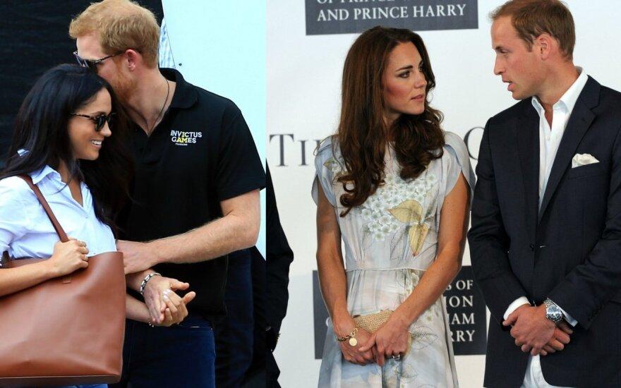 Meghan Markle ir princas Harry, Kate Middleton ir princas Williamas