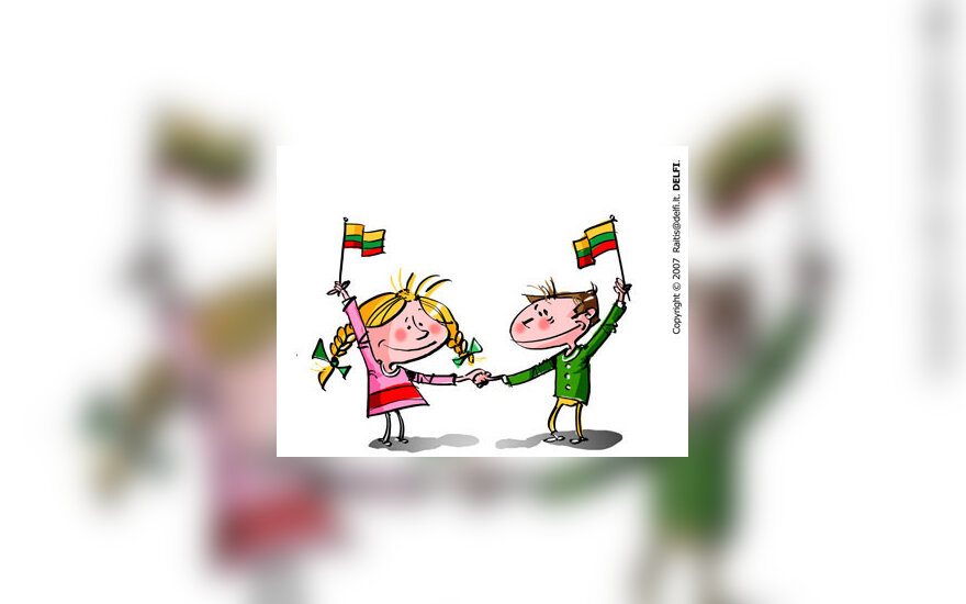 Lietuvos vėliava, šventė, berniukas ir mergaitė