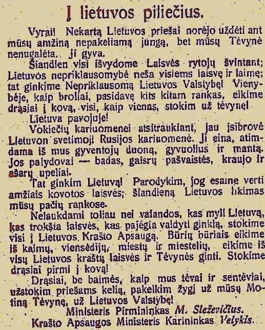 Lietuva prieš 100 m.: besikurianti kariuomenė, pirma akistata su bolševizmu ir pažadinta tautos valia