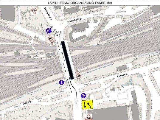 Eismo pokyčiai vykstant Dariaus ir Girėno gatvėje esančio Rodūnios viaduko rekonstrukcijos darbams