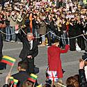 Prezidentas Valdas Adamkus su žmona Alma Rotušės aikštėje