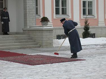 Estų karys valo kilimą