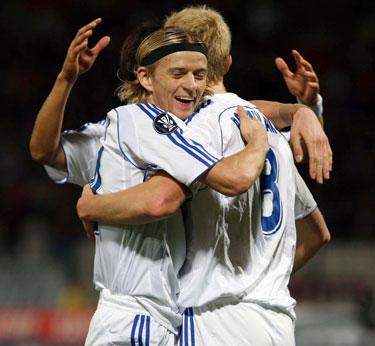 """Sankt Peterburgo """"Zenit"""" futbolininkai džiaugiasi įvarčiu"""