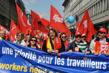 Prancūzijos delegacija  Europos profesinių sąjungų konfederacijos eitynėse Liublianoje  (Slovėnija)