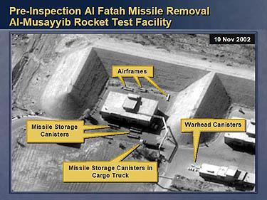 Irako raketų bandymo aikštelė.