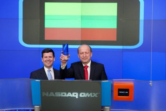 Premjeras A. Kubilius Niujorke atidarė NASDAQ biržos prekybos sesiją. NASDAQ OMX nuotr.