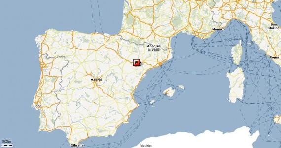 """V.Miliaus buvimo taškas 2010-04-15, 13 val. (GPS duomenis pateikia """"Altas"""")"""