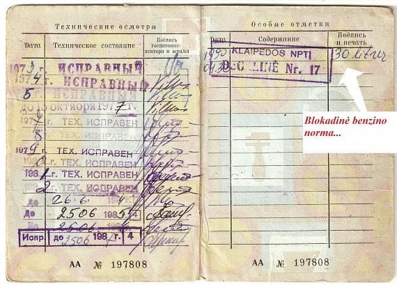 Atžyma automobilio techniniame pase primena, kad blokados metu buvo leidžiama pirkti ribotą kuro kiekį, S.Kudarausko nuotr.