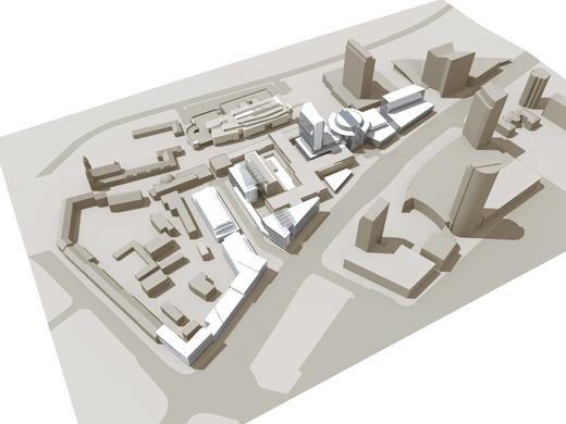 11 pav. Situacijos schema aukštybinio pastato projekto konkursui (iš Architektų sąjungos archyvo)
