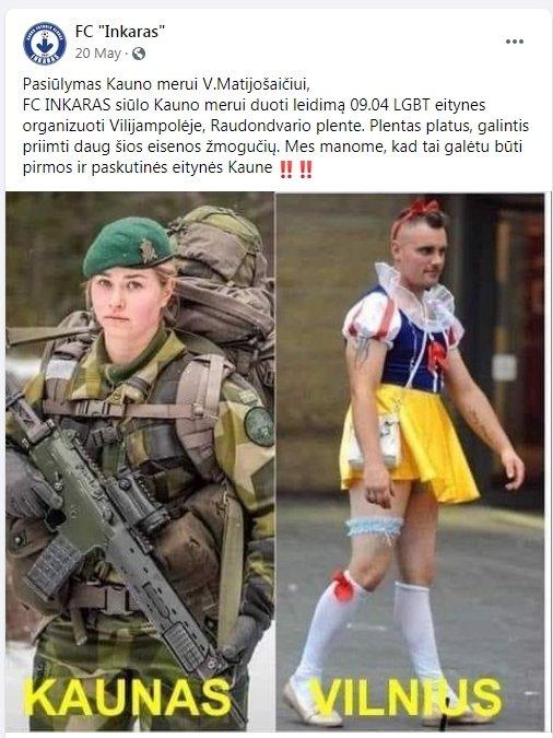 """Kauno futbolo klubo """"Inkaras"""" žinutė socialiniame tinkle"""