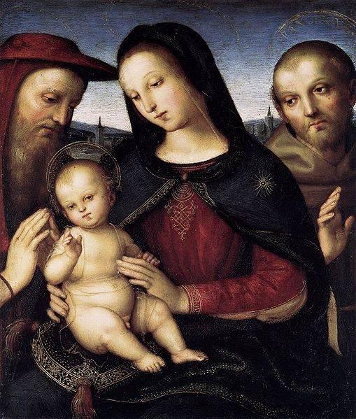 Roppų madona. Taip vadinamas Rafaelio paveikslas Madona su šv. Pranciškumi ir Jeronimu 1829 metais von der Roppų parduotas už 4000 talerių (Wikipedia nuotr)