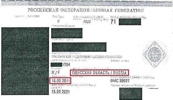 Lithuanian consulate comes across passport specifying Ukraine's Odessa as part of Russia