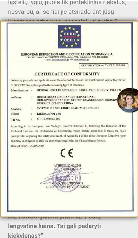 Sukčių internetiniame puslapyje pateiktas suklastotas sertifikatas
