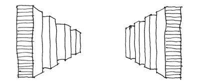 Uždari dangoraižių koridoriai, nepasiduodantys adaptacijai, naikina urbanistinę erdvę. Šios formalistinės, energiją švaistančios sąrangos interjerai irgi niekuo ne geresni.