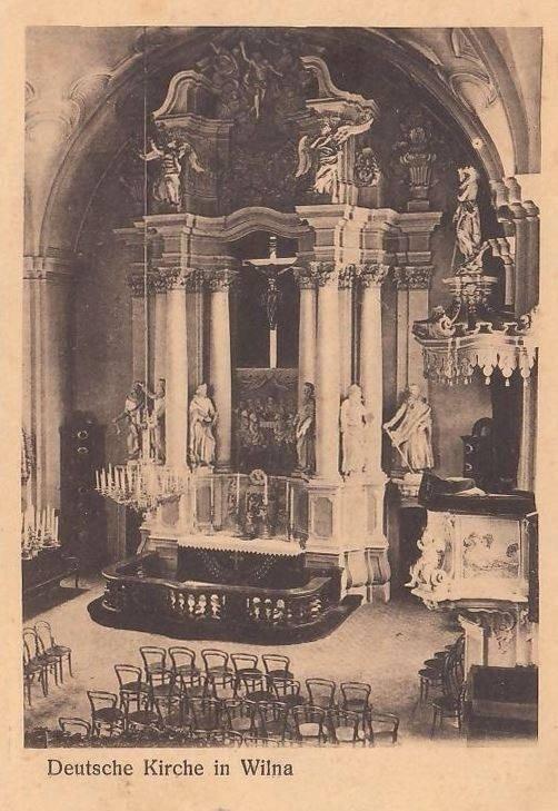 Vilniaus ev. liuteronų bažnyčios vidus prieš šimtą metų