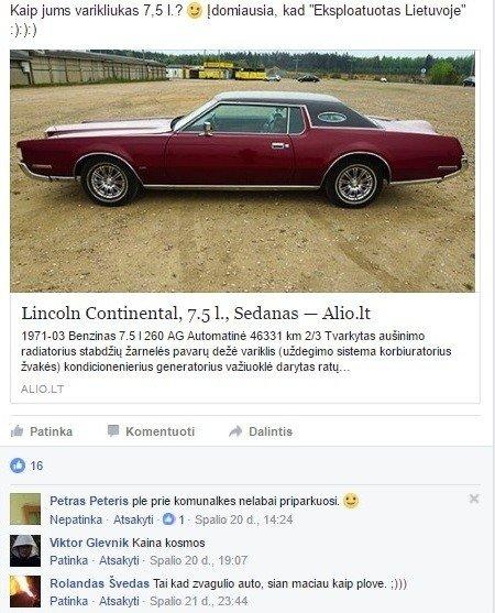 """Ž. Žvagulio parduodamas 1971 m. """"Lincoln Continental"""""""